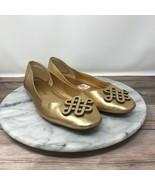 Diane Von Furstenberg Celtic Love Knot Women 6 Gold Leather Slip On Ball... - $39.95