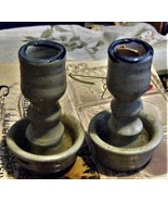 Williamsburg Pottery VA Candle Stick Holder Gray w/Cobalt Salt Glaze Tap... - $15.00