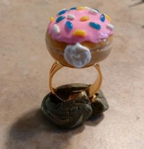 Delicious Frosted Donut Adjustable Ring Clay Food Donut Breakfast Gold Tone - $7.00