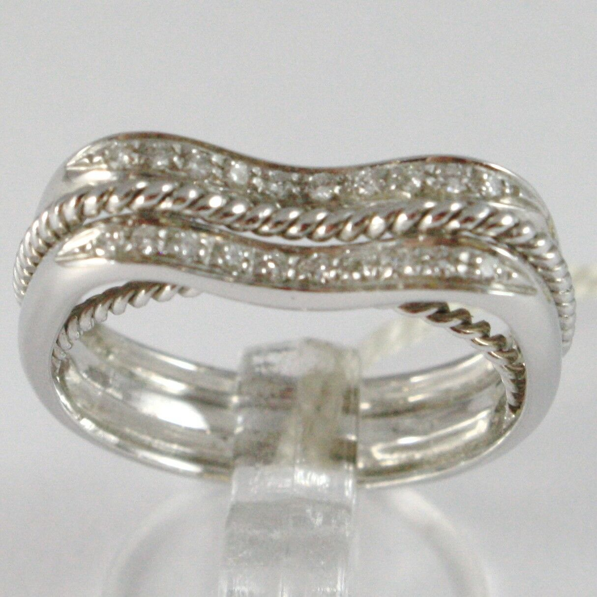 White Gold Ring 750 18K, Veretta Wavy, Double Row of Diamonds, Threaded