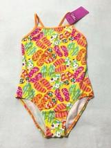 NWT Speedo Girls 14 Yellow Orange Pink Flip Flop Swimsuit One Piece - $14.99