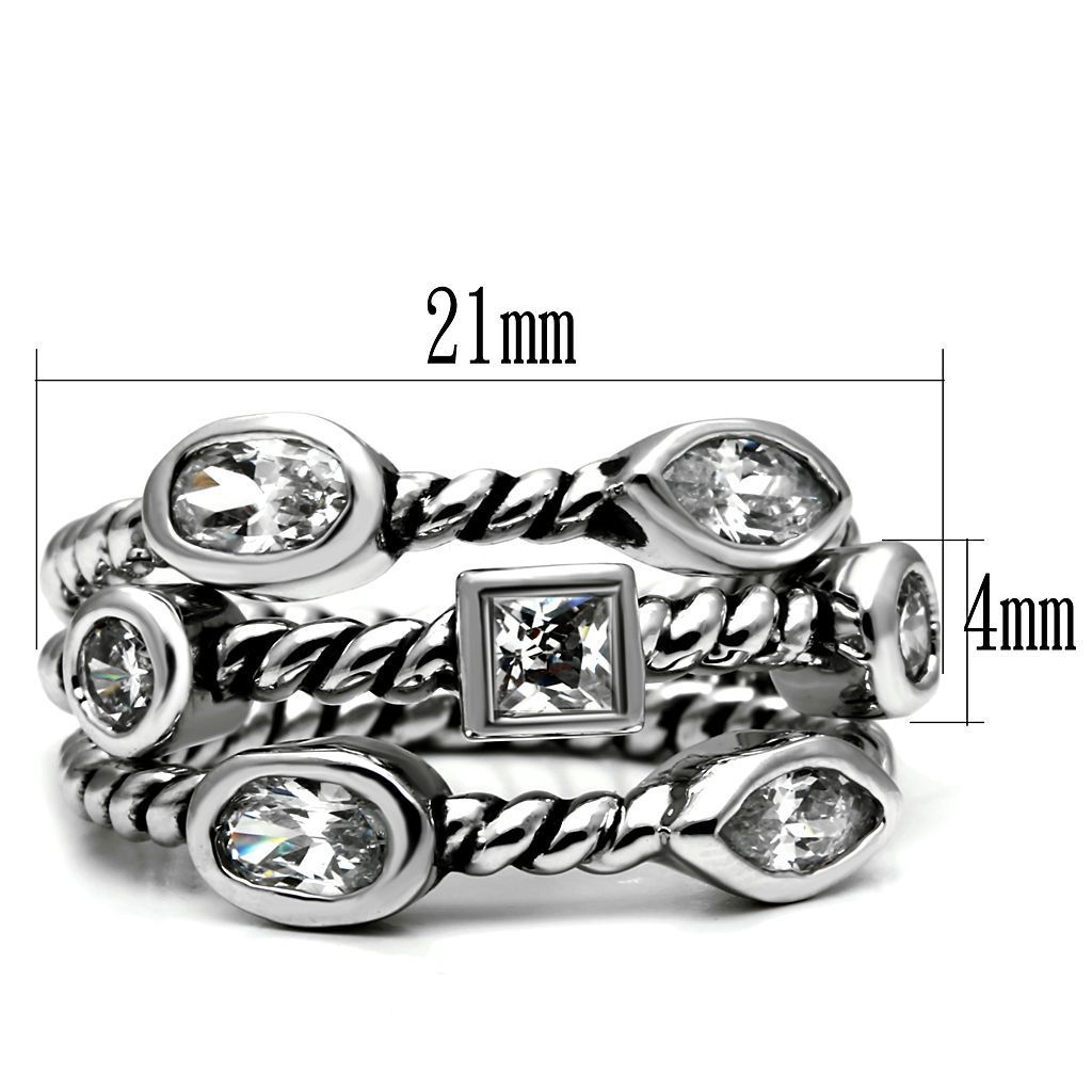 STACKABLE RINGS - Stainless Steel Bezel Setting Rope Band 3 Ring Set SIZE 5 - 10