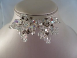 Vintage Faceted Crystal Clip Earrings A4 - $5.93