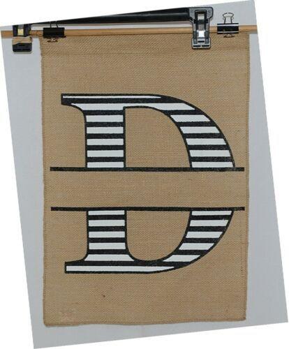 Kate Winston Brand Brown Burlap Monogram Black And White D Garden Flag