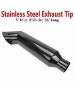 """Black Miter Angle Cut Diesel Smoker Exhaust Stack 5"""" Inlet 8"""" Tip 36"""" Lo... - $96.59"""