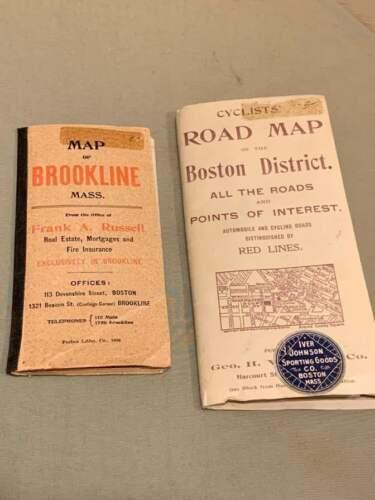 Walker & Co. Antique 1903 Lot Brookline Boston Road Map Cyclist Iver Johnson