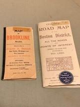 Walker & Co. Antique 1903 Lot Brookline Boston Road Map Cyclist Iver Johnson image 1