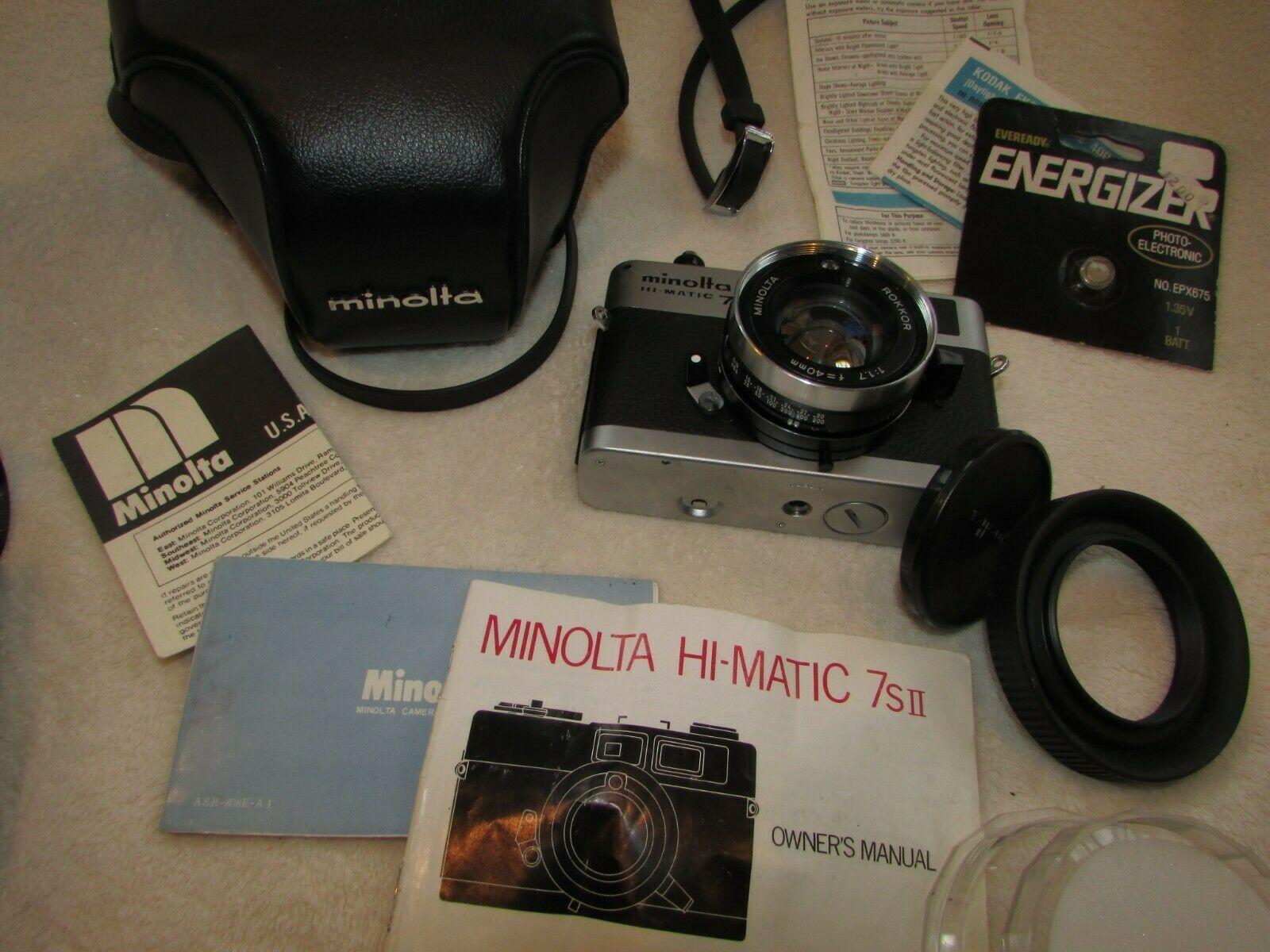 Vintage Minolta Hi-Matic 7S II Camera Case Instructions Flash Polarizing Filter