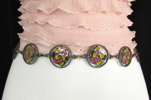 Donna Peltro Metallo Bling Moda Cintura Rosa Fiore Giallo Ciondolo Hip Vita S M