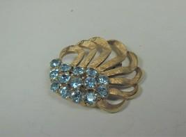 Gold Tone & Blue Rhinestone Pin Brooch Flower Shaped - $14.84