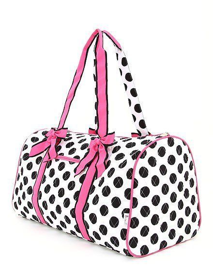 Primary image for Belvah assorted colors quilted monogramable polka dot duffel bags travel gym bag