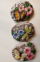 Decorative Stones Set of 3 Garden Decor Love Peace Hope Painted Rock - $4.99 - $14.99