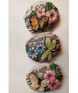 Decorative Stones Set of 3 Garden Decor Love Peace Hope Painted Rock - $4.99+
