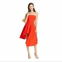 Elliatt By Revolve Origin Dress Red Size M ASYMMETRIC Strapless Ruffle B... - $105.42