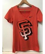 MLB San Francisco Giants Nike Womens orange v-neck t-shirt Top M Medium - $13.95