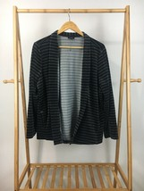 Talbots Women's Velour Black Gray Striped Open Cardigan Sweater Size XLP   - $19.95