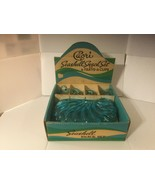 Hazel Atlas Capri Seashell Aqua Blue Glass Vintage Snack Set 4 Trays 4 Cups  - $34.99