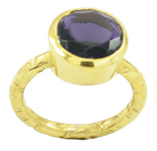 Charm Fascinating Amethyst CZ Gold Plated Purple Ring genuine ordinary U... - $9.99