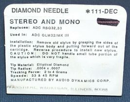 TURNTABLE NEEDLE GENUINE ADC RSQ32 for ADC QLM32/III MK III 111-DEC image 4