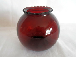 Vintage Mid-Century ANCHOR HOCKING Royal Ruby Red Depression Round Glass Vase - $12.00