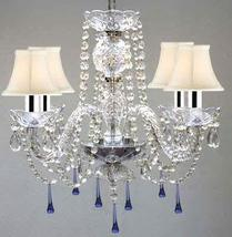 Murano Venetian Style All Crystal Chandelier Lighting W/Blue Crystals w/Chrome S - $152.86