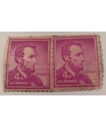 STAMP  2  LINCOLN  RED  1958    4 CENT  USED  UNCANCELLED - $517.77
