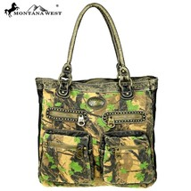 Montana West Camo Camouflage Stone Washed Canvas & PU Leather Travel Bag Tote - $61.99