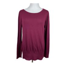 Ann Taylor LOFT Sweater L Women Burgundy Knit Lightweight Scoop Neck Lon... - $19.24