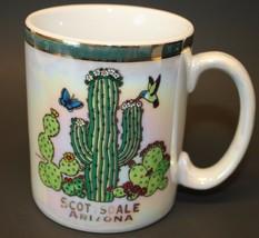 Scottsdale Arizona Coffee Mug Cup Cactus Desert Gold Rimmed Vintage - $15.47