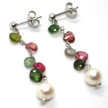 18K WHITE GOLD PENDANT EARRINGS, PEARL, GREEN AND RED DROP TOURMALINE 1.7 INCHES image 2