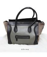 Celine Authentic Tricolor Gray Black Beige Leather n Suede Phantom Tote ... - $1,473.99