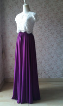 PLUM PURPLE Chiffon Maxi Skirt Purple Wedding Chiffon Skirt (US0-US30) image 3