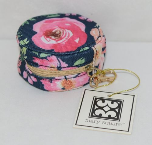 Mary Square 20328 Vintage Floral Earbud Case Zip Closure Elastic Bands Inside