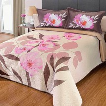 Beige Floral York Reversible Bedspread with Pink and Green Tones by Intima - $89.05