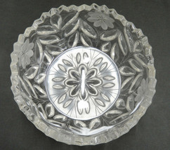 Vintage Pressed Glass Bowl Etched Flowers Leaves Sawtooth Edge Salad Ser... - $19.79