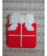 Gift Package Gift Card Holder/Pocket Ornament Plastic Canvas Handmade - $3.50
