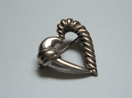 Vintage David Yurman Sterling Silver Heart Brooch Pin Cable Smooth Signed - $57.41