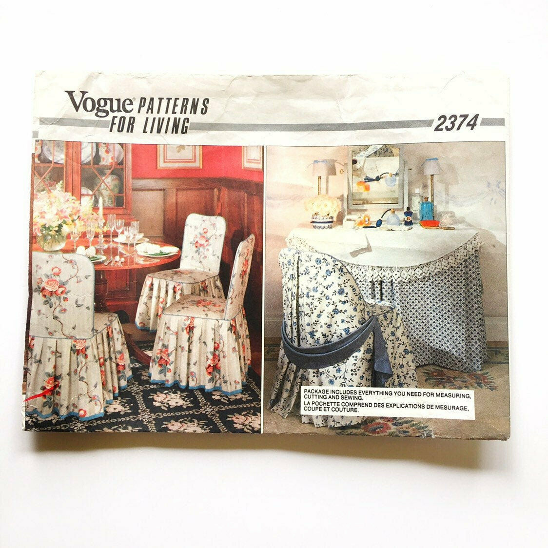 Vintage Vogue 2374 Chair Slip Covers Box Pleats Ruffles Piping Uncut Pattern FF