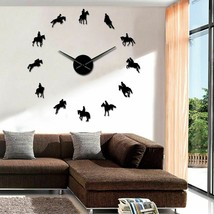 Frameless Equestrian 3D DIY Wall Clock Modern Sports Horse Race Acrylic ... - $26.73+