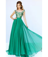 Green Long Appliqued Evening Dresses Scoop Chiffon Prom Party Dress Page... - $132.00