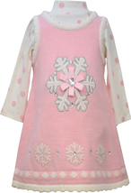 Bonnie Jean Little Girl 4-6X Pink Snowflake Applique Sweater Knit Jumper Dress