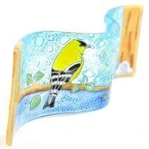 Fused Art Glass Goldfinch Yellow Finch Birds Wavy Decor Piece Handmade Ecuador image 3