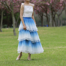 Blue Tiered Tulle Skirt Outfit High Waisted Long Tulle Skirt Holiday Tulle Skirt image 2