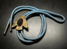 Bolo Tie Copper Colored Metal Thunderbird Centered Cab Slider Baby Blue ... - $12.99