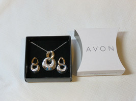 Ladies Womens Avon Two-Tone Circle Necklace & Earrings Gift Set F3433881... - $16.03