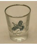 Canada Grouse Whiskey Shot Glass Federal Glass Silver Rim Bar Barware Vi... - $12.86