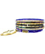 Memory Wire Bracelet, Shimmering Blue Waters Handmade Fashion Jewelry  - $10.00