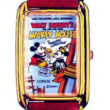 Mickey 'Sky Scraper Poster' Watch, Seiko Lorus, Gold Tone Rectangular RM... - $97.86