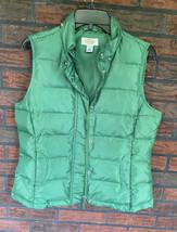 Green Goose Down Vest Small Zipper Pockets Snaps No Hood Sleeveless Jack... - $24.50