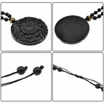 Lucky Pendant Necklace Natural Obsidian Carved Chinese Dragon Phoenix Bagua image 8